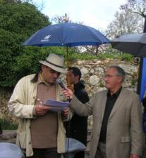 Inauguration du totem de la Tuilerie de Massane à Grabels par René Revol, discours de Christophe Corp en présence de Georges Frêche 3 avril 2009