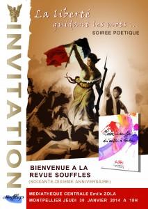 « BIENVENUE A LA REVUE SOUFFLES », le jeudi 30 JANVIER 2014, 18h, à la Médiathèque Centrale Emile Zola de Montpellier.