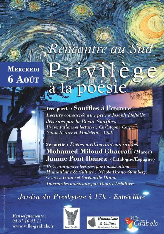 Rencontre au Sud-Privilège à la Poésie-Jardin du Prebytère à 17h Entrée Libre-Grabels